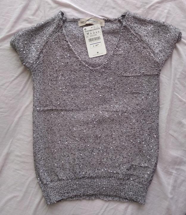 Sweterek srebrny cekiny 38 ZARA 7866906499 Odzież Damska Swetry CU KTFKCU-6