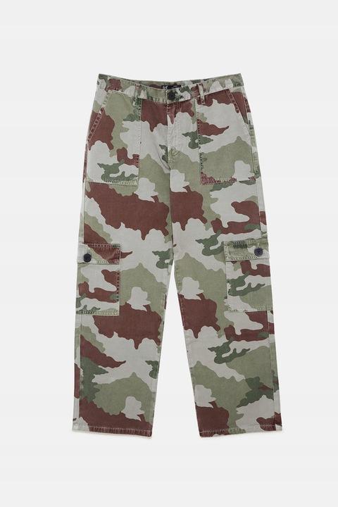 ZARA - dżinsy moro w stylu militarnym - 38 7877598891 Odzież Damska Jeansy RR VXRBRR-1