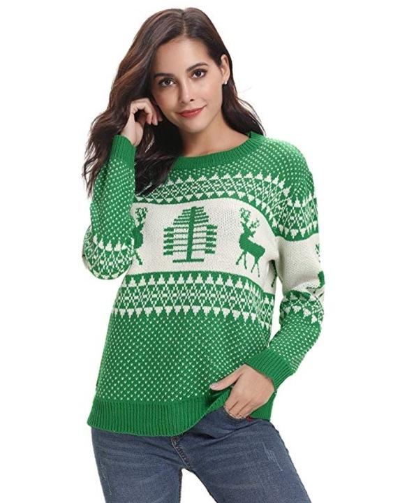 ŚWIĄTECZNY SWETER-EK DAMSKI CIEPŁY Z RENIFEREM MIX 8616933466 Odzież Damska Swetry MG COANMG-2