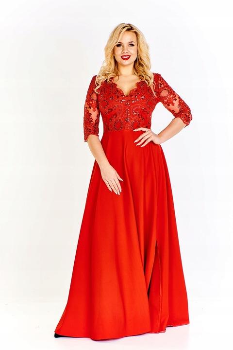 Sukienka elegancka długa wesele bal koronka 46 max 8519208113 Odzież Damska Sukienki wieczorowe HL ODDXHL-9