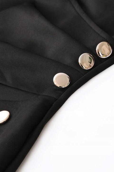 SUKIENKA Asymetryczna Guziki Czarna Midi Roz. L/XL 8751488270 Odzież Damska Sukienki wieczorowe DP JYQEDP-6