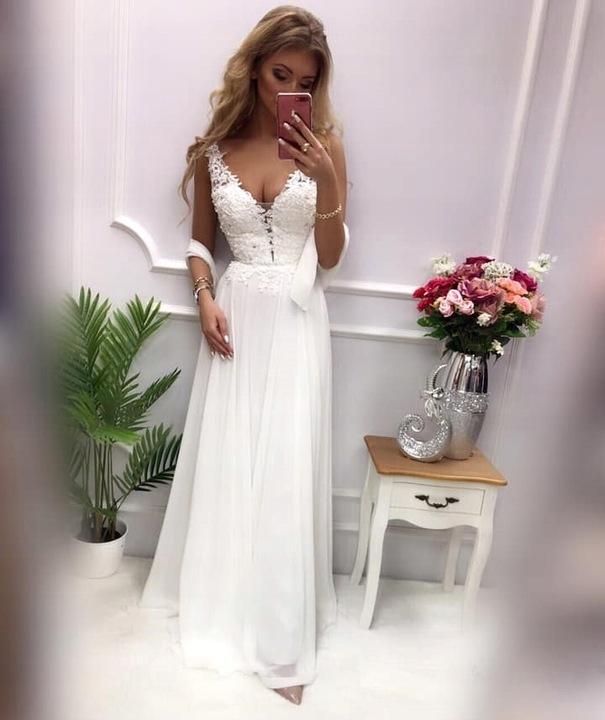 Jagoda KORALOWA DŁUGA SUKIENKA z GIPIURĄ ślub XL 9478012245 Odzież Damska Sukienki wieczorowe AK QUYPAK-5