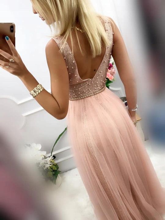 Gold SREBRNA DŁUGA SUKNIA z TIULEM wesele XS 9738603730 Odzież Damska Sukienki wieczorowe JX ZJLRJX-1