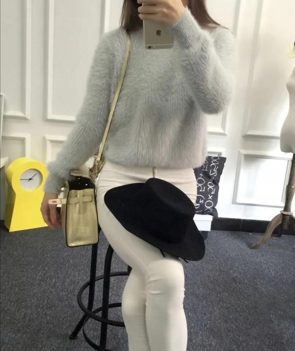 Dopasowany Sweterek moherowy pudrowy 9609186951 Odzież Damska Swetry DT QIXLDT-6