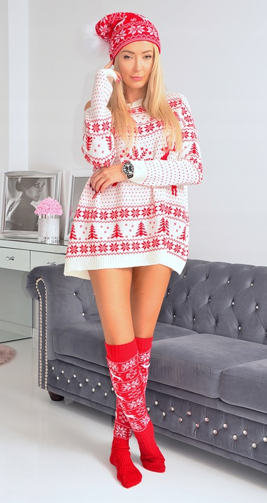 ŚWIĄTECZNY SWETER TUNIKA OVERSIZE BIAŁY 8721815938 Odzież Damska Swetry LS LWUFLS-3