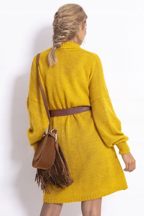 Sweter Długi Kardigan Narzutka ELEGANCKI ŻÓłty UNI 8545172287 Odzież Damska Swetry SG FASKSG-2