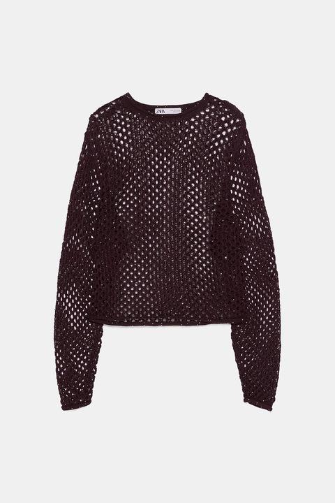 ZARA- ażurowy bakłażanowy sweter cekiny - S 8928253755 Odzież Damska Swetry JR JDTZJR-8