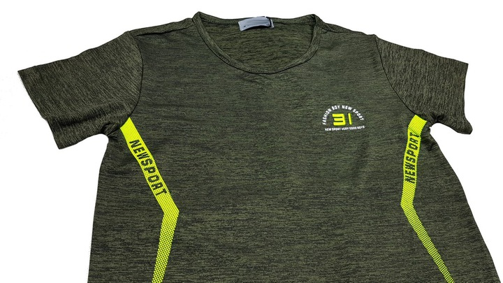 T-shirt Bluzka FIT PRESTON 8 ok. 122/128 KHAKI 9793514928 Dziecięce Odzież DW OZSHDW-7