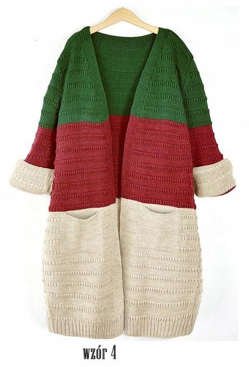 Efektowny modny kobiecy KARDIGAN SWETER 8476288761 Odzież Damska Swetry VQ YSMWVQ-4