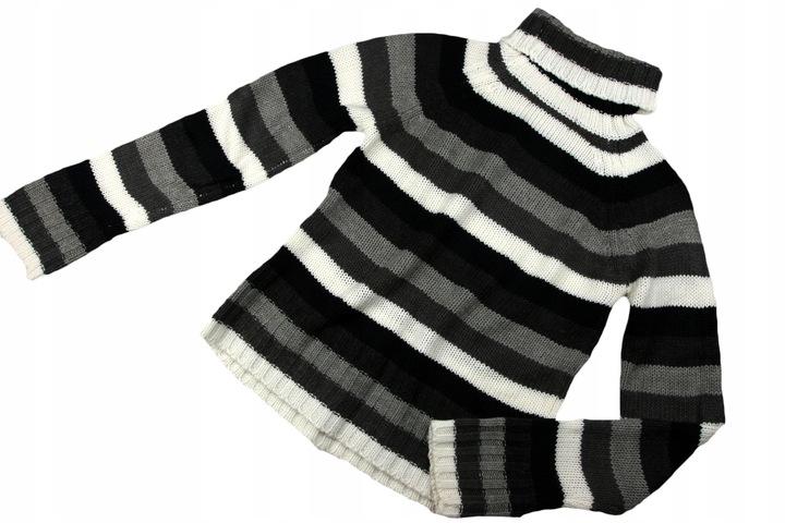 ZARA sweter LUŹNY splot GOLF pasy _38/M 9831603784 Odzież Damska Swetry DE ARWRDE-5