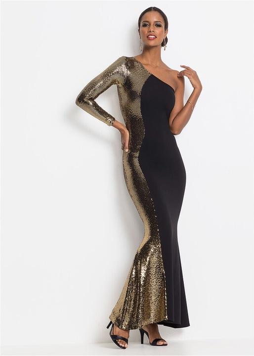B.P.C suknia wieczorowa ze złotą aplikacją 40/42 9831090115 Odzież Damska Sukienki wieczorowe DU XQMUDU-9