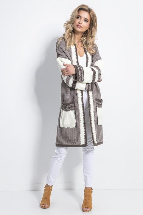 FOBYA długi ciepły kardigan z kieszeniami 699 S/M 9453779784 Odzież Damska Swetry PX YIFMPX-6