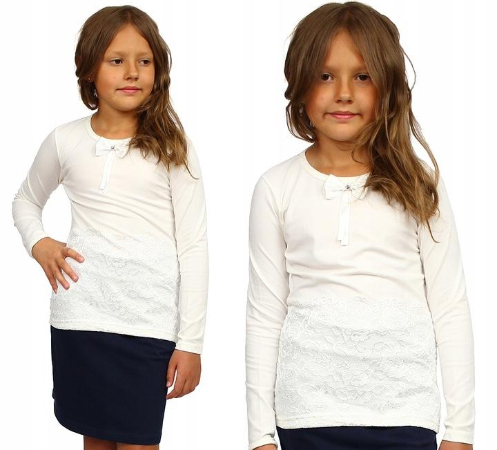Bluzka KORONKA Kokardka ECRU Szkoła 146/152 GH266 8382019495 Dziecięce Odzież MM KHUUMM-1
