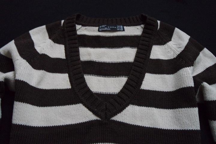 ZARA sweter sweterek brązowy paski WEŁNA___S/36/38 9824479953 Odzież Damska Swetry OV UGJSOV-1