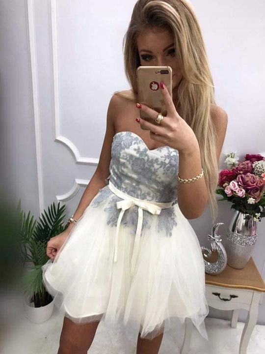 Klara ECRU TIULOWA GORSETOWA SUKIENKA XS 8481738658 Odzież Damska Sukienki wieczorowe QG TBQQQG-2
