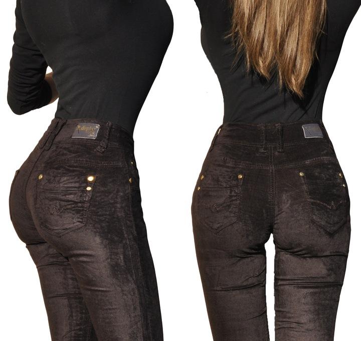 RD1818 Aksamitne zamszowe wygodne spodnie S / 36 8671486955 Odzież Damska Jeansy KQ YMZDKQ-2