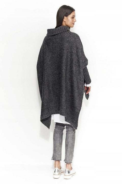 GRUBY Sweter oversize golfem GRAFITOWY PONCZO GOLF 8534739411 Odzież Damska Swetry QI KNSQQI-9