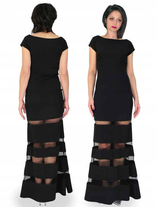 CAMILL 322 Czarna wieczorowa suknia rybka 48 8650852197 Odzież Damska Sukienki wieczorowe DE EVMJDE-9