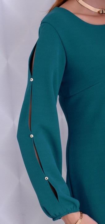 WYSZCZUPLAJĄCA SUKIENKA MODNE RĘKAWY ZIELONA 232 8555010500 Odzież Damska Sukienki wieczorowe RZ GIOPRZ-5