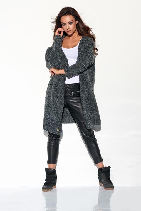 GRAFITOWY duży kardigan płaszcz narzuta z kapturem 8624553724 Odzież Damska Swetry EI ZTITEI-3