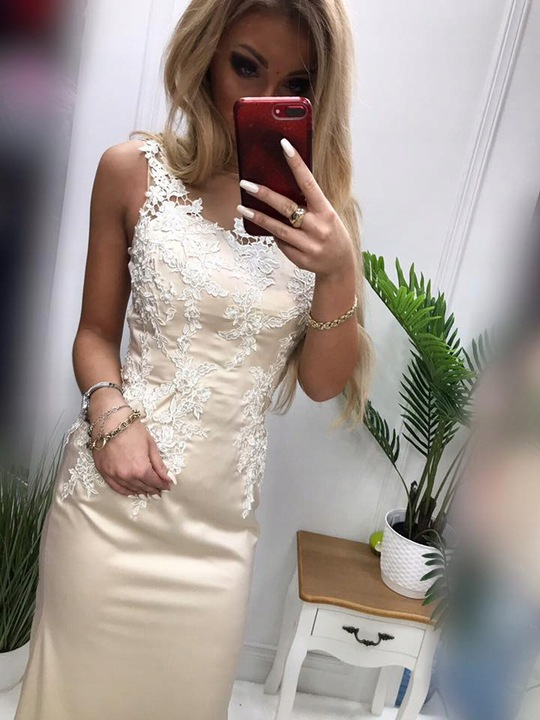 Nina DŁUGA TURKUS OŁÓWKOWA SUKIENKA wesele ślub S 9467960986 Odzież Damska Sukienki wieczorowe HJ PRDUHJ-5