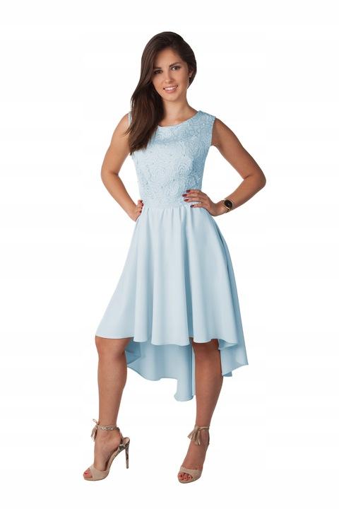 Asymetryczna Sukienka Koronka Perełki Wesele R/38 7568796083 Odzież Damska Sukienki wieczorowe KK EEZZKK-9