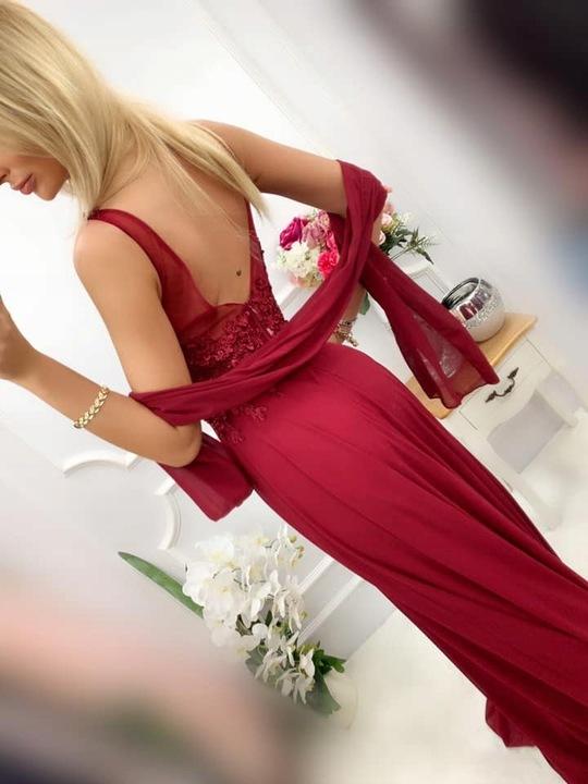 Jagoda WRZOSOWA DŁUGA SUKIENKA z GIPIURĄ M 9554796880 Odzież Damska Sukienki wieczorowe GZ SMENGZ-9