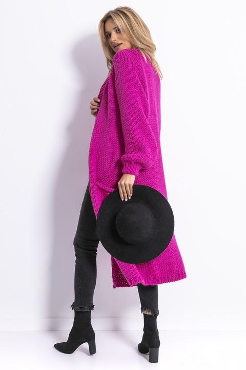 Długi PIĘKNY KARDIGAN Narzutka CIEPŁY Sweter L/XL 9054398011 Odzież Damska Swetry UH NTMGUH-3