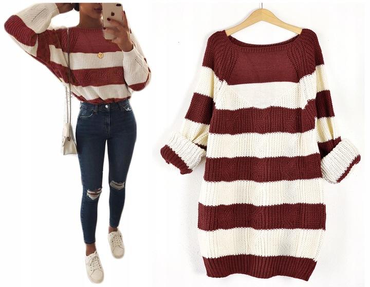 Kobiecy mięciutki modny SWETER sweterek pasy 8657752824 Odzież Damska Swetry VJ KWLPVJ-2