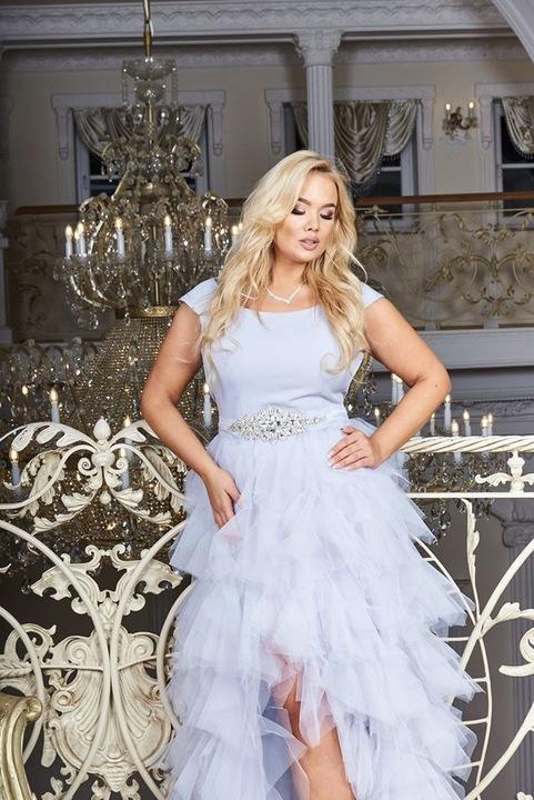 Sandy LIGHT PINK TIULOWA ślub wesele druhny L 8850071533 Odzież Damska Sukienki wieczorowe KF JGTUKF-7
