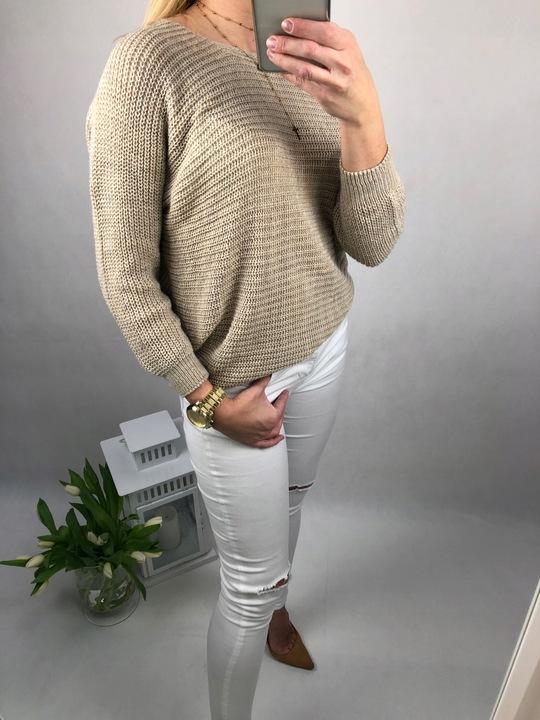 """Miękki sweterek """"nietoperz"""" kolor beż 7816335298 Odzież Damska Swetry PZ TDVCPZ-6"""