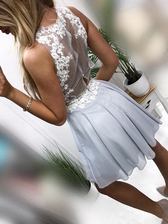 Zuza GRANATOWA ROZKLOSZOWANA z tiulem XS 9554801364 Odzież Damska Sukienki wieczorowe QQ JLJMQQ-5