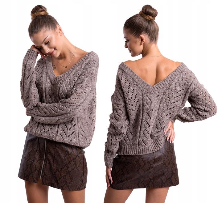 ALAN_AŻUROWY SWETEREK V-NECK 2 W 1 L/XL 9263944603 Odzież Damska Swetry TT TGZOTT-9
