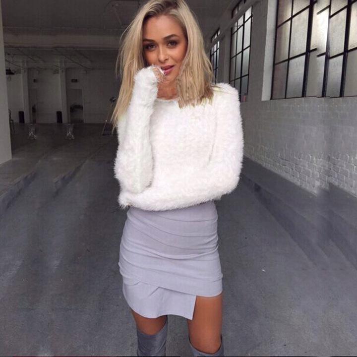 Dopasowany Sweter alpaka biały 9821095193 Odzież Damska Swetry MP XLSJMP-3