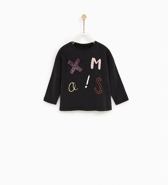 Zara grafitowa bluza z cekinami 104 3 -4 9908016393 Dziecięce Odzież FY RTLDFY-8