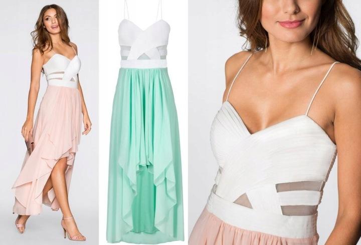 Piękna sukienka dłuższy tył 44 8268660508 Odzież Damska Sukienki wieczorowe VF KLSMVF-5