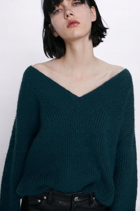 ZARA Luksusowy SWETER wełniany zielony M PIĘKNY! 8938315081 Odzież Damska Swetry GN TCSPGN-8