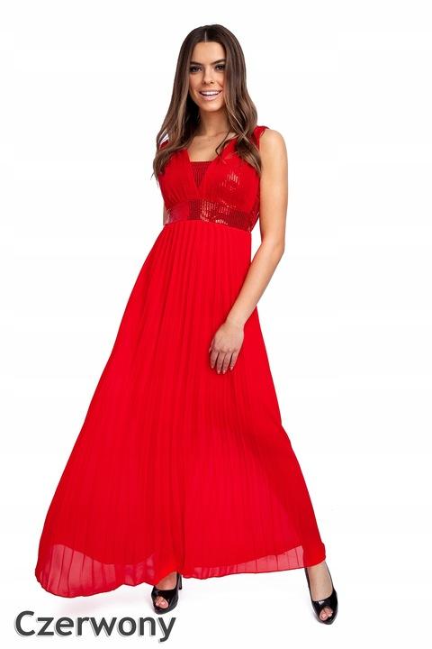 257_roz_M_BŁYSZCZĄCA ELEGANCKA SUKIENKA PLISY MAXI 8835373000 Odzież Damska Sukienki wieczorowe TL CKGZTL-3