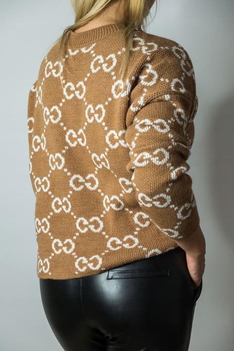 Modny, miękki brązowy sweterek G & G uni 8703745869 Odzież Damska Swetry CS XUDWCS-6