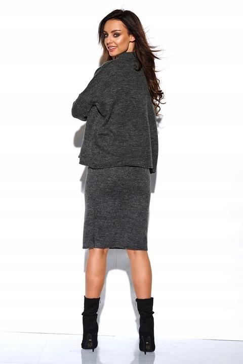 Ciepły swetrowy komplet sweter spÓdnica GRAFITOWY 8841153649 Odzież Damska Swetry SV AMQFSV-4