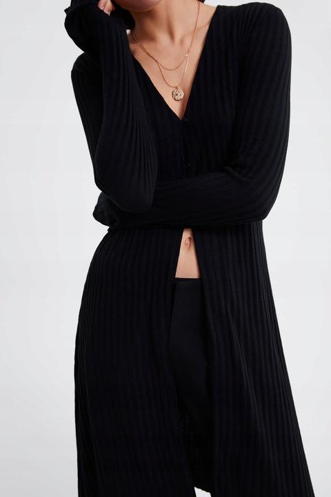 ZARA- czarna tunika kardigan z dzianiny - L 8704028443 Odzież Damska Swetry WL QJFVWL-7
