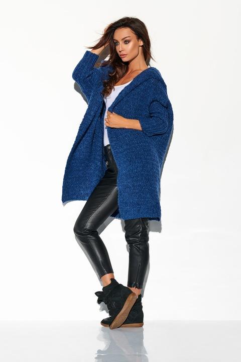 DŁUGI SZEROKI KARDIGAN Z DUŻYM KAPTUREM sweter 8637952120 Odzież Damska Swetry DX HVLCDX-4