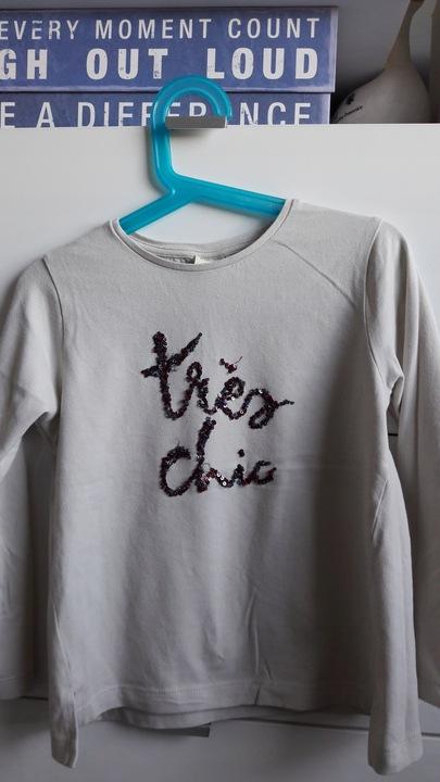 Bluzka Zara oversize napis z cekinÓw 9922400901 Dziecięce Odzież UQ LXMMUQ-9