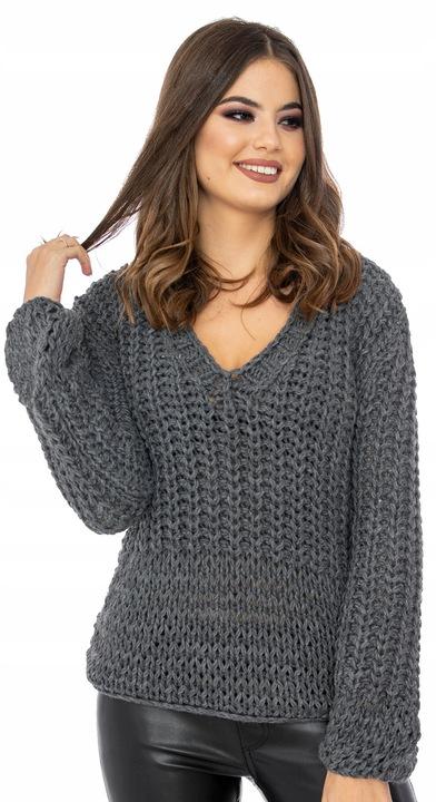 Kobiecy mięciutki modny SWETER sweterek serek S/M 8458393172 Odzież Damska Swetry HI ZNTSHI-5