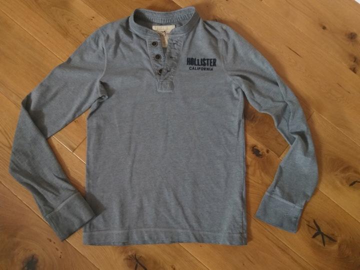 SZARA BAWEŁNIANA BLUZKA HOLLISTER R.XS/S 9709193647 Odzież Męska Koszulki z długim rękawem VP CYHDVP-2