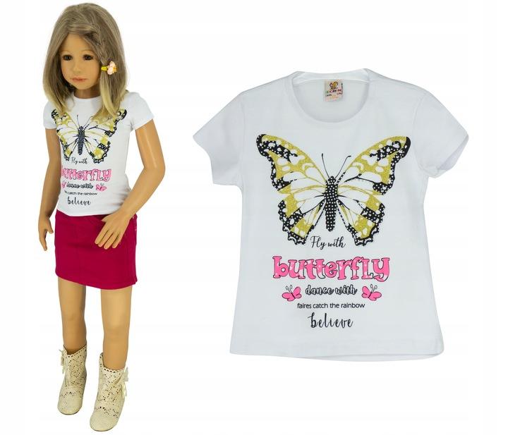 Biała bluzka koszulka T-shirt P0136 rozmiar 116 8896173423 Dziecięce Odzież WV XDTUWV-4