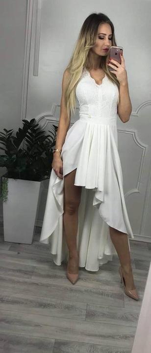 Loren2 BIAŁA SUKIENKA z KORONKOWĄ GÓRĄ wesele XS 9554605813 Odzież Damska Sukienki wieczorowe KR RRDJKR-7
