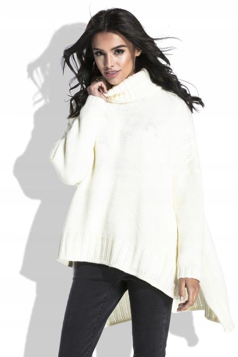 Luźny CIEPŁY Sweter Oversize ECRU Tunika MODNA UNI 8503874462 Odzież Damska Swetry MH BVLGMH-1