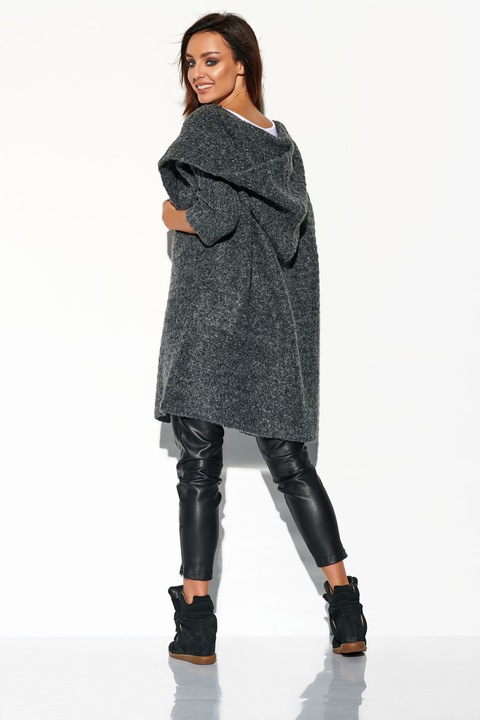 PIĘKNY GRAFITOWY KARDIGAN Z DUŻYM KAPTUREM płaszcz 8620327752 Odzież Damska Swetry GJ TZPOGJ-2