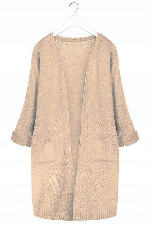 Mięciutki KOBIECY KARDIGAN Długi Sweter Kieszenie 8592624222 Odzież Damska Swetry TZ ANQVTZ-3